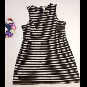 J. Crew black beige striped mini dress size XL